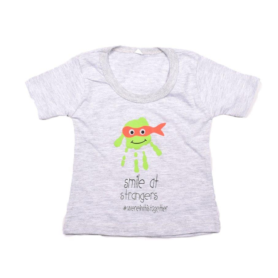 Baby-T Light Grey - Hand Print SMILE | www.iiilovelocal.com