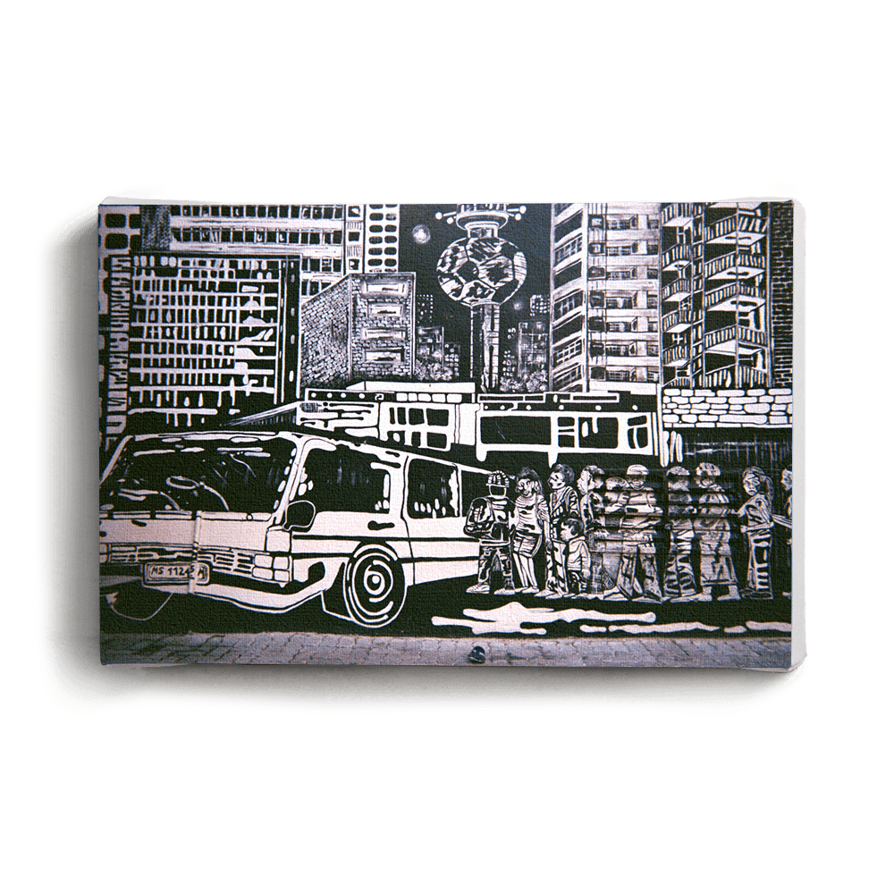 Canvas Print Black & White Taxi Scene | www.iiilovelocal.com