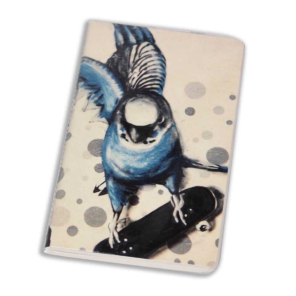 Notebook Floppy Cover Budgie on Skateboard | www.iiilovelocal.com