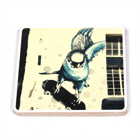 Wooden Photo Block Blue Lady