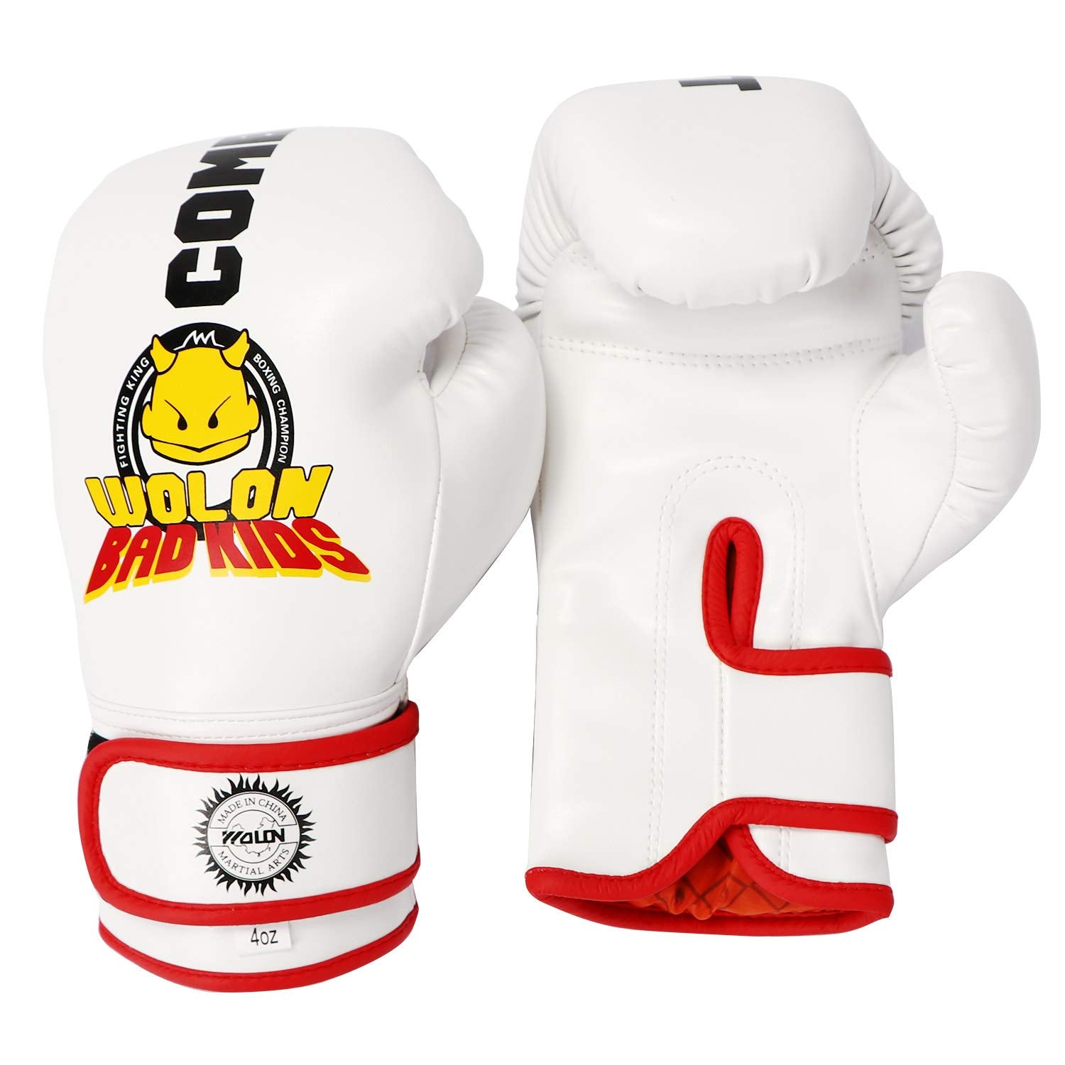 Kids White Bad Kids Boxing Gloves 4OZ - Q&ADoorChimes