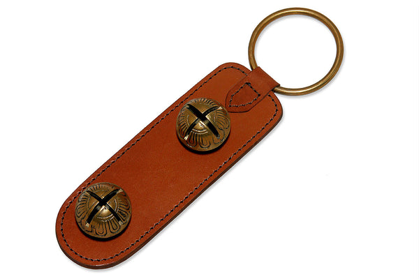 Brown Leather Strap door chime with 2 Solid Brass Sleigh Bells - Q&ADoorChimes