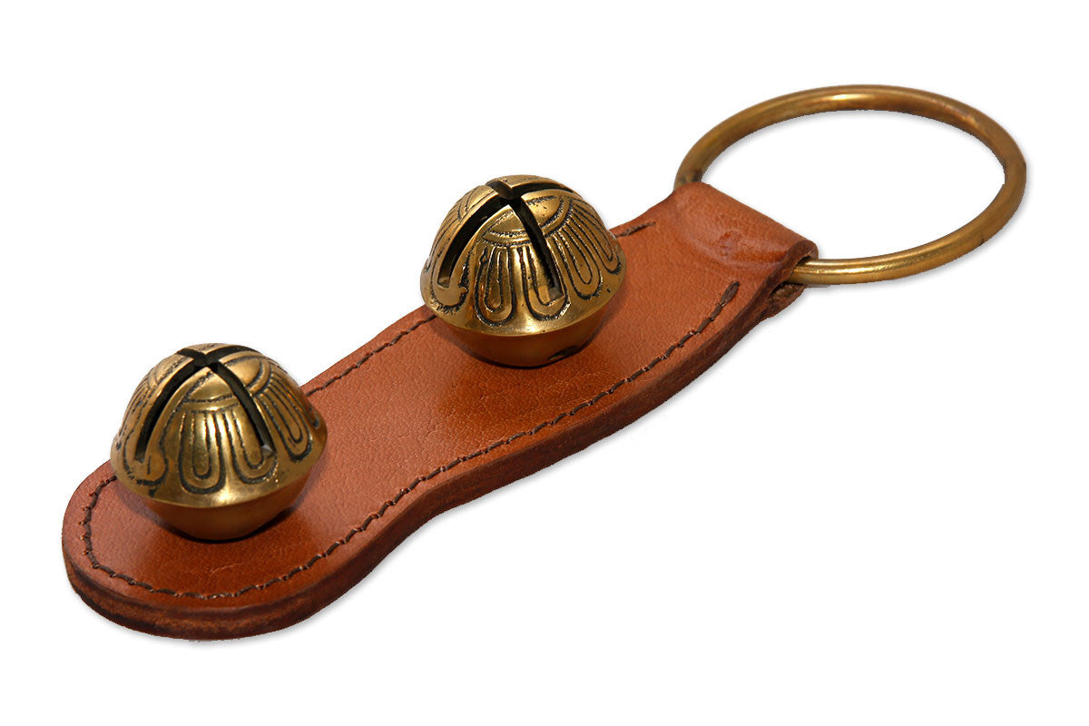 Brown Leather Strap Door Chime with Heavy Solid Brass Sleigh Bells - Q&ADoorChimes