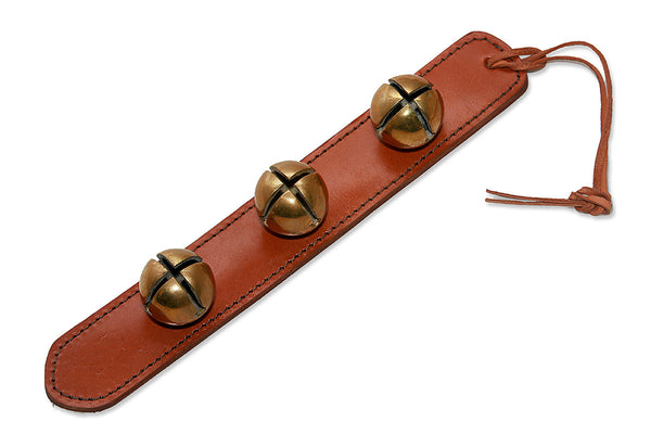 "12"" Brown Leather Strap Door Chime with Hi Pitch 3 Solid Brass Sleigh Bells - Q&ADoorChimes"