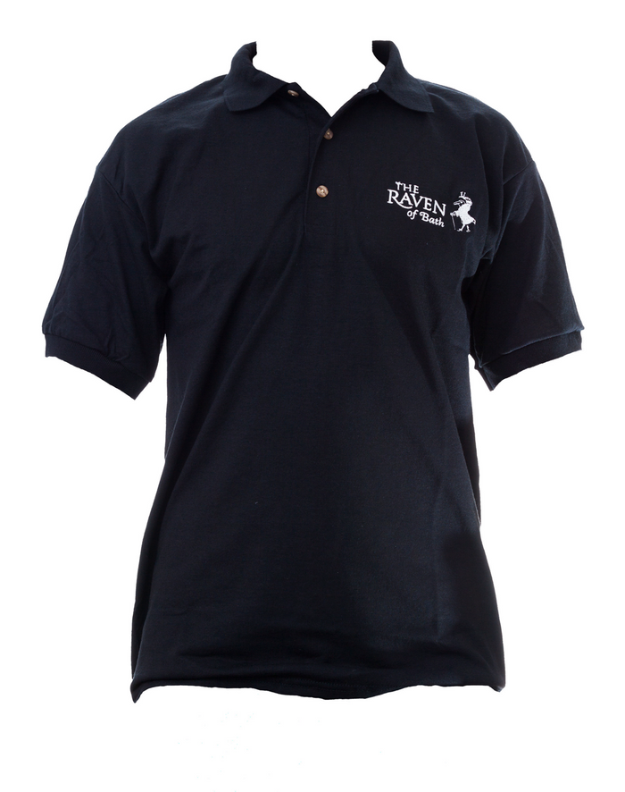 Black Polo Shirt with The Raven Logo