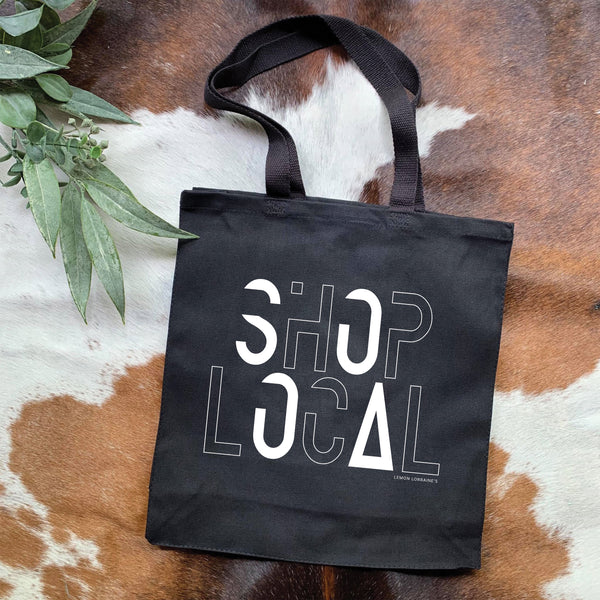 SHOP LOCAL Black Graphic Tote Bags