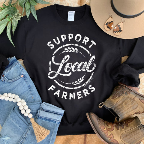 SUPPORT LOCAL FARMERS - Black Graphic Sweatshirt