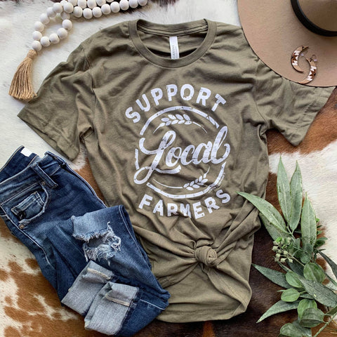 SUPPORT LOCAL FARMERS - Olive Triblend Graphic Tee