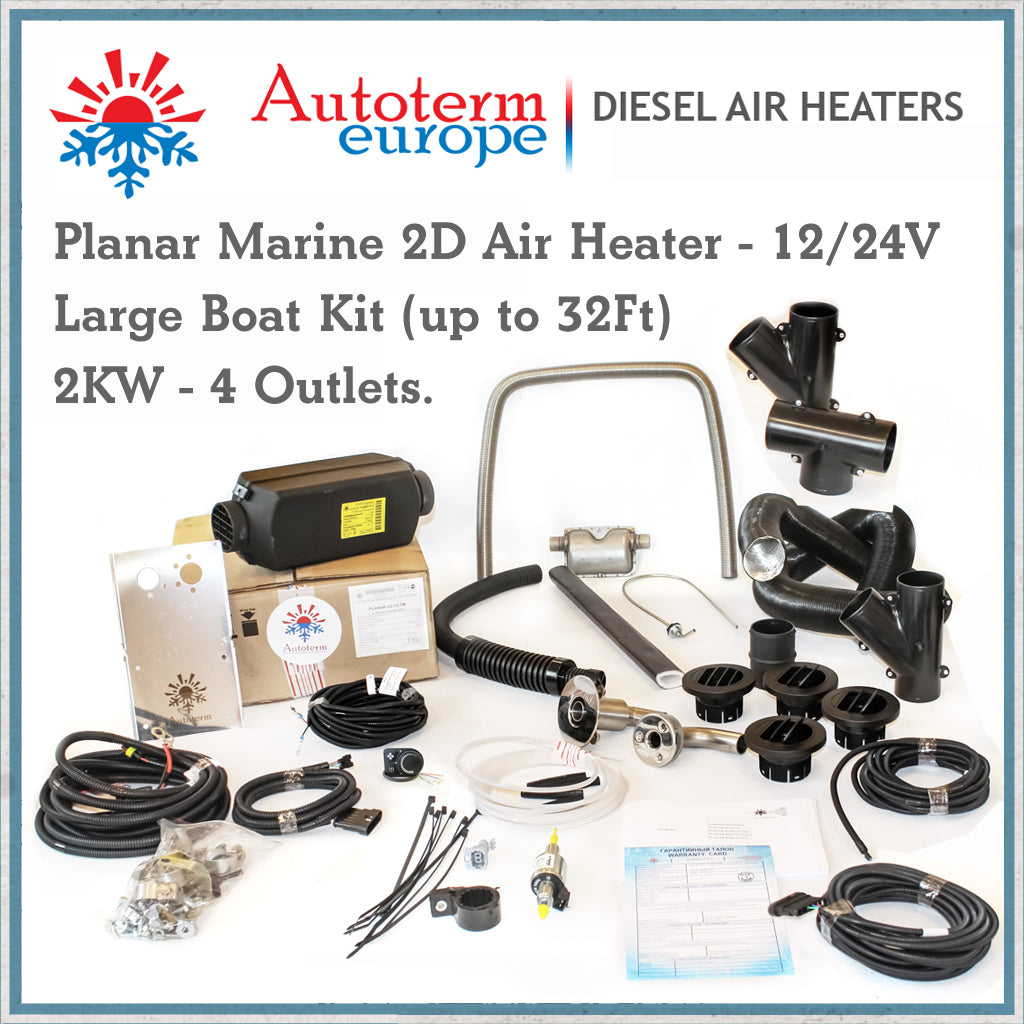 Autoterm planar diesel air heater 2kw large boat kit