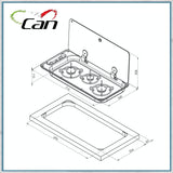 Can fc1349 three burner hob dimensions