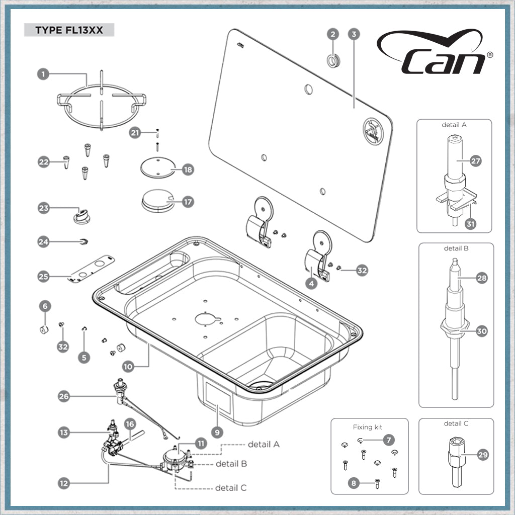 Spare parts for CAN FL1300 range cooker/hob units FL1323 and FL1324