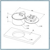 Can LC1701 Foldy Round Flip over Flap Hob dimensions