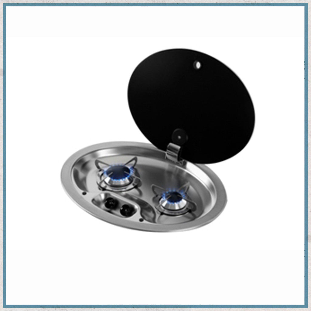Can Hoodiny Oval 2 Burner Gas Hob with Glass Lid