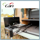CAN SL1400 Two Burner Hob & Sink Combination Slide-out unit shown in VW T5 California