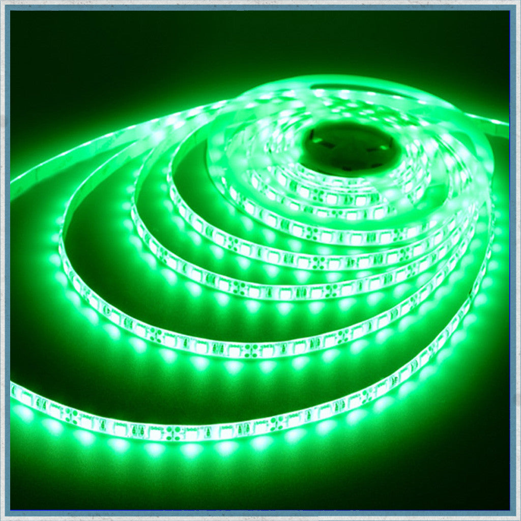 12V Green 5 Metre NON-Waterproof LED Lighting Strip