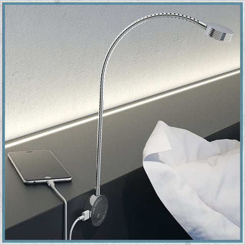 Hafele 12V LED Flexible Reading lamp with USB Ports - Chrome