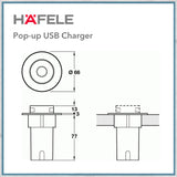 Hafele Pop-up USB charger dimensions