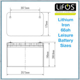 Lifos lithium iron 68ah leisure battery sizes