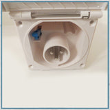 Campervan Square 240V inlet, white, internal view