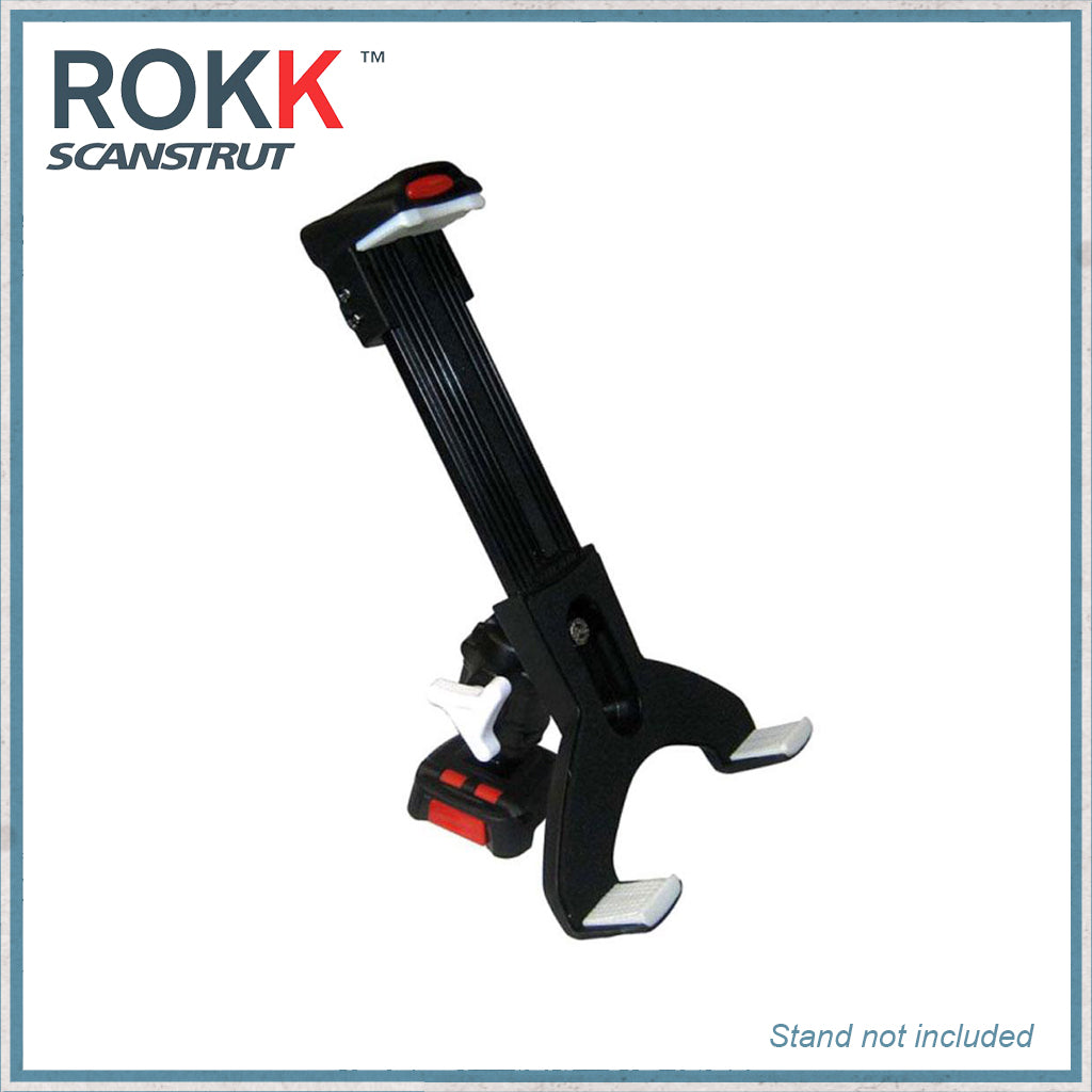 Tablet clamp + Adjustable body for ROKK mini modular system. Note adjustable body is sold separately