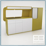 Badabing Vertex SWB Top Loading VW T5/T6 Furniture - Curry Yellow +splashback and light locker