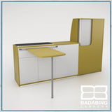 Badabing Vertex SWB Top Loading VW T5/T6 Furniture - Curry Yellow + table