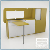 Badabing Vertex SWB Top Loading VW T5/T6 Furniture - Curry Yellow + table and splashback