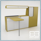 Badabing Vertex SWB Top Loading VW T5/T6 Furniture - Curry Yellow + table and light locker