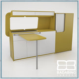 Badabing Vertex SWB Top Loading VW T5/T6 Furniture - Curry Yellow + table,  splashback and light locker