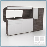 Badabing Vertex SWB Top Loading VW T5/T6 Furniture - Pasadena Pine + splashback and light locker