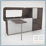 Badabing Vertex SWB Top Loading VW T5/T6 Furniture - Pasadena Pine + table and splashback