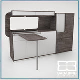 Badabing Vertex SWB Top Loading VW T5/T6 Furniture - Pasadena Pine + table, splashback and light locker