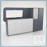 Badabing Vertex SWB Top Loading VW T5/T6 Furniture - Smoke Blue + splashback