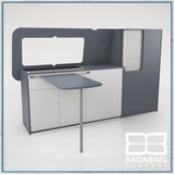 Badabing Vertex SWB Top Loading VW T5/T6 Furniture - Smoke Blue + table and splashback