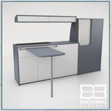 Badabing Vertex SWB Top Loading VW T5/T6 Furniture - Smoke Blue + table and light locker