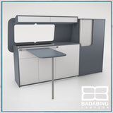 Badabing Vertex SWB Top Loading VW T5/T6 Furniture - Smoke Blue + table, splashback and light locker