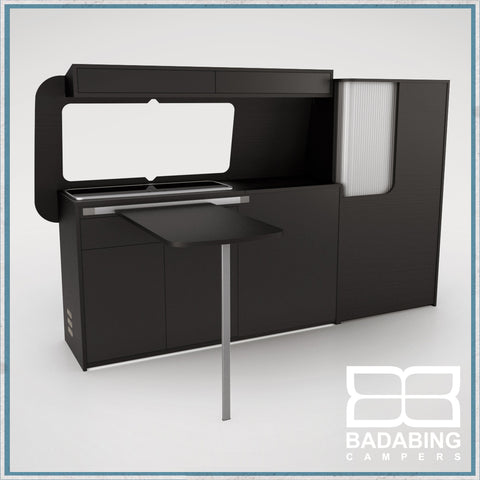 Badabing Vertex SWB Top Loading VW T5/T6 Furniture - Soft Black + table, splashback and light locker