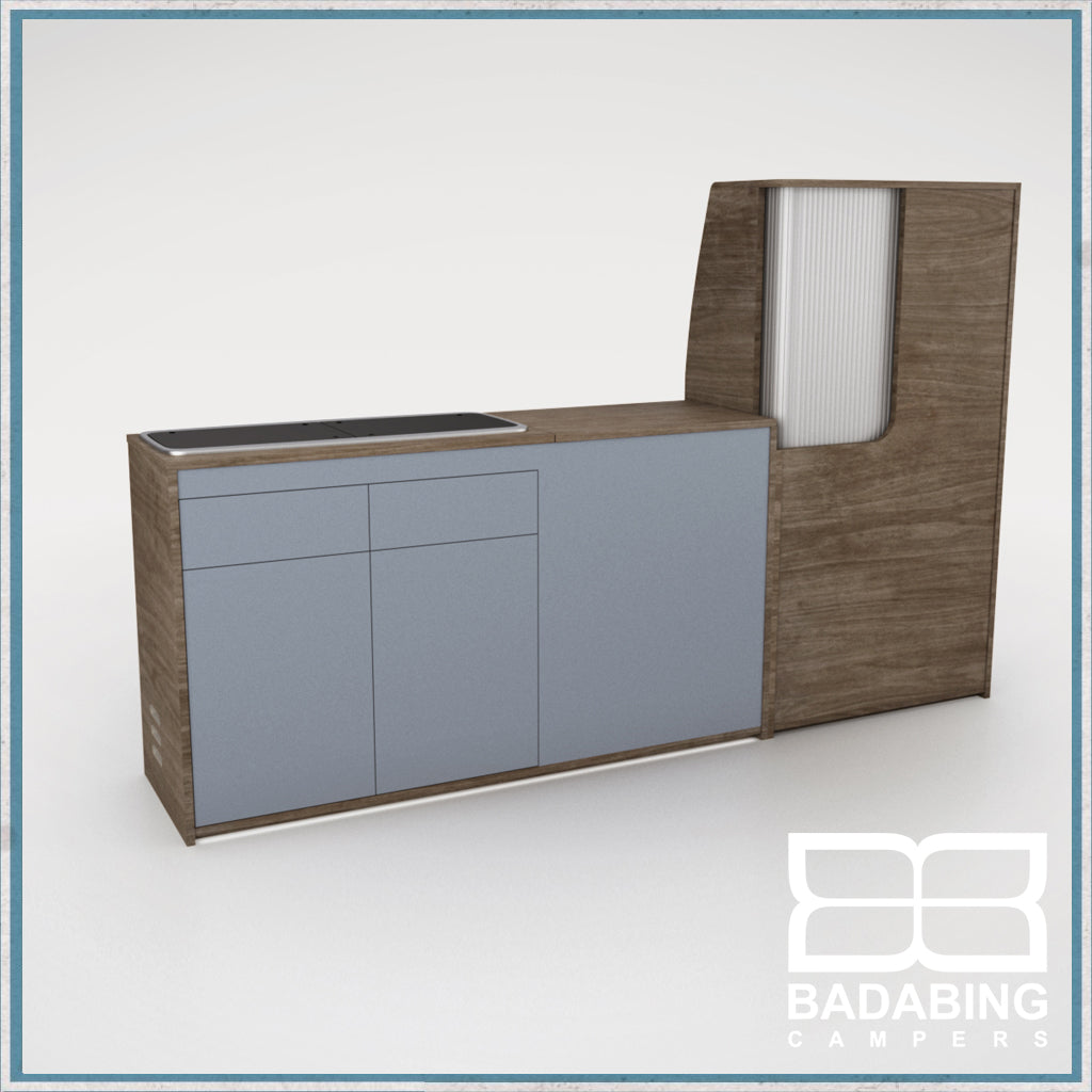 Badabing Vertex SWB Top Loading VW T5/T6 Furniture - Tobacco Halifax Oak