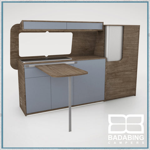 Badabing Vertex SWB Top Loading VW T5/T6 Furniture - Tobacco Halifax Oak + table, splashback and light locker