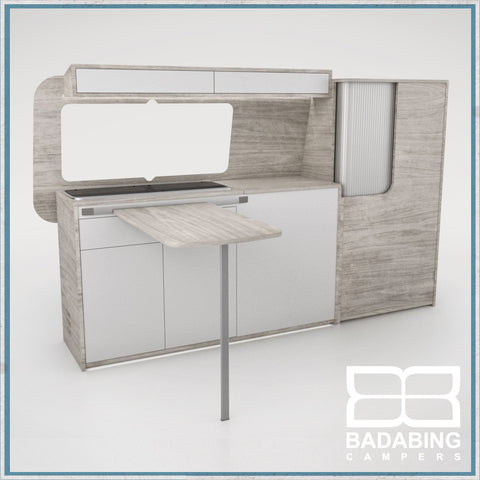 Badabing Vertex SWB Top Loading VW T5/T6 Furniture - Whiteriver + table, splashback and light locker