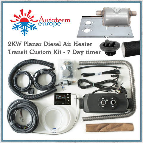 2KW Autoterm Planar Diesel Air Heater - Ford Transit Custom Kit with 7 day timer