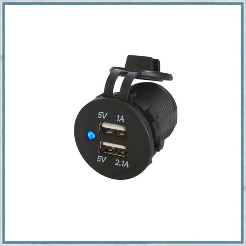 3.1A Waterproof Dual Port USB Socket 12V / 24V