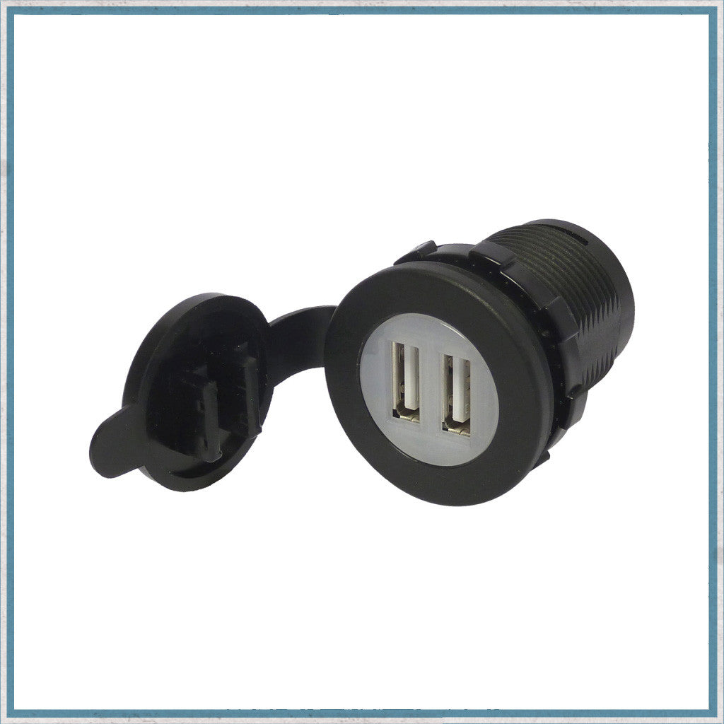 2.1A Waterproof Dual Port USB Socket 12V / 24V