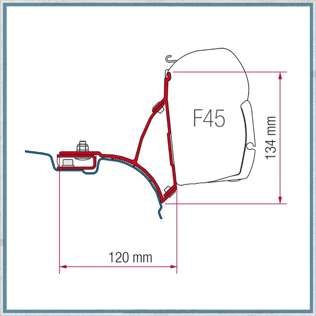 Fiamma VW T5/T6 F45S Awning Bracket 98655648 sizes