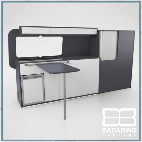 Badabing Vertex LWB VW T5/T6 Furniture With Front Loading Fridge - Carbon Grey + table, splashback and light locker