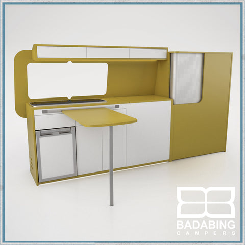 Badabing Vertex LWB VW T5/T6 Furniture With Front Loading Fridge - Curry Yellow + table and light locker