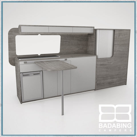 Badabing Vertex LWB VW T5/T6 Furniture With Front Loading Fridge - Grey Sherman Oak + table, splashback and light locker