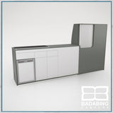 Badabing Vertex LWB VW T5/T6 Furniture With Front Loading Fridge - Monument Grey