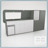 Badabing Vertex LWB VW T5/T6 Furniture With Front Loading Fridge - Monument Grey + splashback