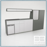 Badabing Vertex LWB VW T5/T6 Furniture With Front Loading Fridge - Monument Grey + light locker